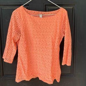 Banana Republic Peach Lace 3/4 Sleeve Shirt